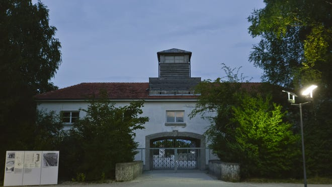 The main gate of the concentration camp in Dachau, Germany.