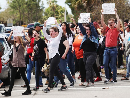 Cypress Lake High School students staged a walkout Wednesday 2/21/2018 to protest gun violence in schools. The gathered at the intersection of Panther Lane and Cypress Lake Drive.