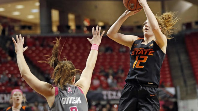 Oklahoma State's Vivian Gray (12) shoots the ball over Texas Tech's Sydney Goodson (2) during a February 2019 game at United Supermarkets. Gray, the Big 12's second-leading scorer each of the past two years, has transferred to Tech.