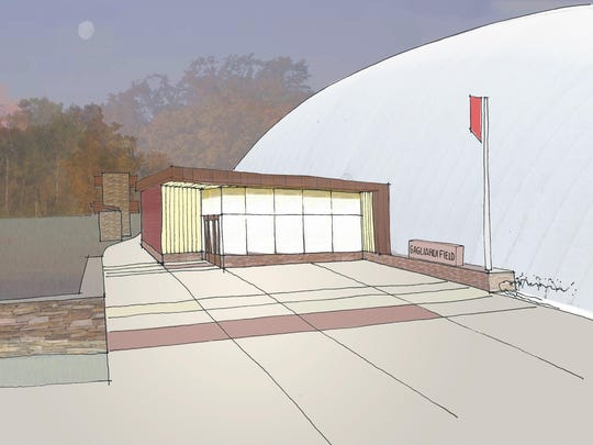 An artist rendering of what the new artificial turf athletic field and seasonal dome complex at St. John's is expected to look like when completed.