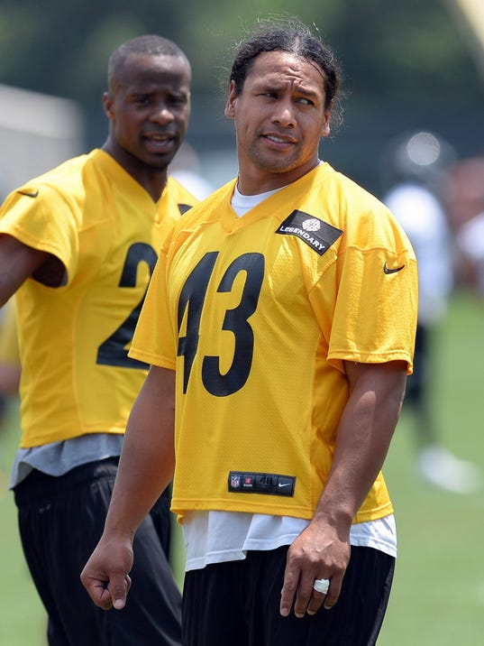 Pittsburgh Steelers' Troy Polamalu talks with teammates during an NFL football minicamp Tuesday, June 17, 2014 in Pittsburgh.(AP Photo/Pittsburgh Post-Gazette, Matt Freed)  MAGS OUT; NO SALES; MONESSEN OUT; KITTANNING OUT; CONNELLSVILLE OUT; GREENSBURG OUT; TARENTUM OUT; NORTH HILLS NEWS RECORD OUT; BUTLER OUT