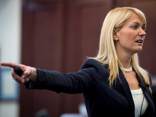 Assistant District Attorney General Jan Norman speaks during closing arguments during day five of Cory Batey's trial in Judge Monte Watkins' courtroom at the A. A. Birch building, Friday, April 8, 2016, in Nashville, Tenn.