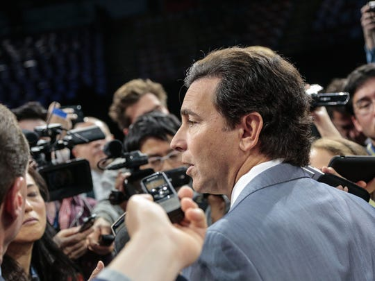 Ford CEO Mark Fields speaks to press after the Ford unveiling for the 2017 North American International Auto Show held at the Joe Louis Arena in Detroit on Monday, Jan. 9, 2017.