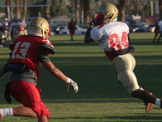 Franklin Miller practices with College of the Desert, August 29, 2017.