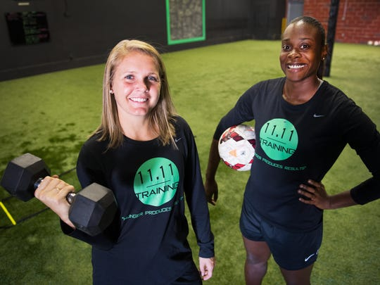 Blakely Mattern and India Trotter are pictured at 11.11 Training, an elite soccer training facility for girls in Greenville, on Tuesday, October 17, 2017.