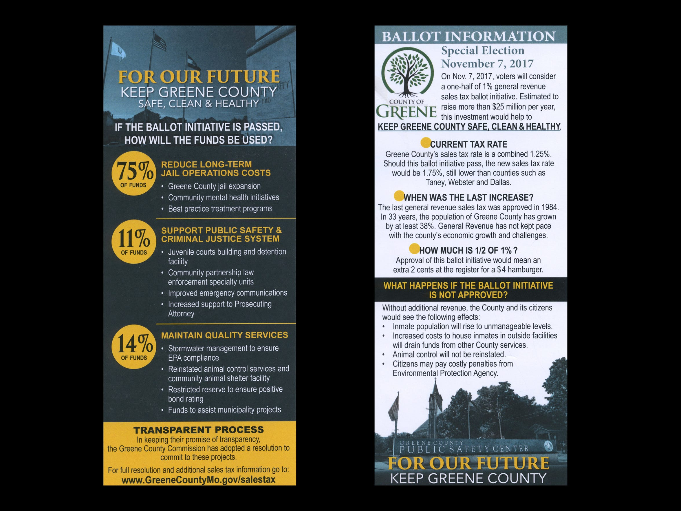 Greene County created and paid for printed material