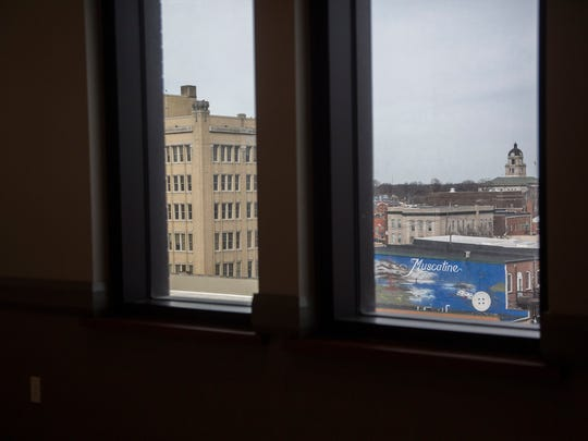 Views of downtown Muscatine can be seen from the windows of The Merrill Hotel and Conference Center, Wednesday, Feb. 21, 2018.