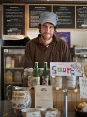 Skinny Pancake owner Benjy Adler at his cafe in Burlington's
