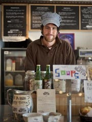 Skinny Pancake owner Benjy Adler at his cafe in Burlington's