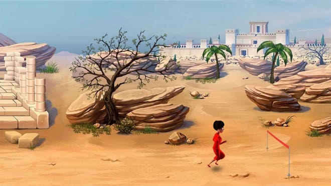 """The """"race mode,"""" one of three game settings in the Great Bible Race, features vivid backgrounds."""