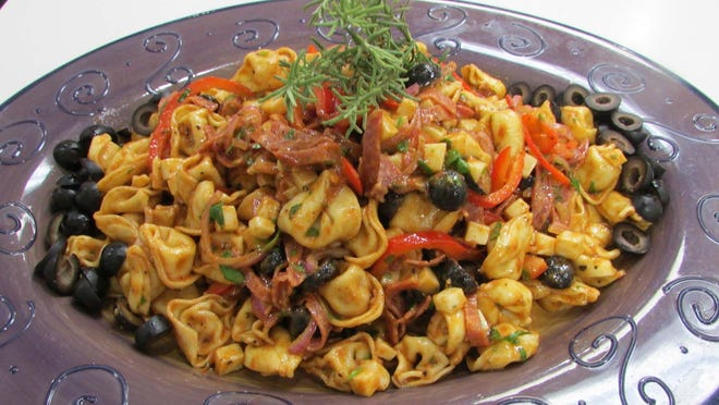 Tortellini & Salami Salad with Grilled Tomato dressing