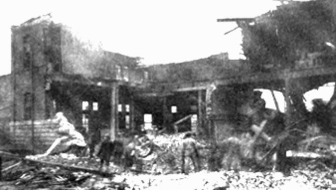 An image of the blast site at the two-story brick power house.