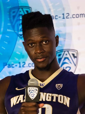 Washington senior forward Malik Dime at Pac-12 men's basketball media day.