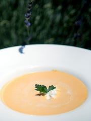 Sweet vichyssoise (cold sweet potato leek soup), with a lavender creme fraiche at Brasserie Provence, 150 N. Hurstbourne Parkway.  June 16, 2016