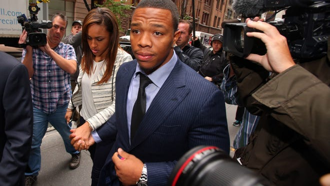 Suspended NFL running back Ray Rice arrives with his wife, Janay Rice, for his appeal hearing on his suspension from the NFL in November of 2014.