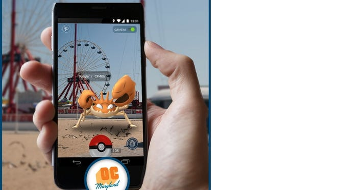 An image created for social media by the town of Ocean City's tourism department proves that, yes, there are Pokemon in the resort.
