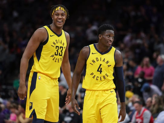 (From left) Indiana's Myles Turner and Victor Oladipo