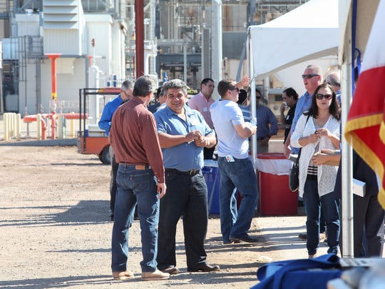 ZGlobal founder Ziad Alaywan, center in blue, attends an event celebrating the opening of the Imperial Irrigation District's 30-megawatt battery in El Centro, California, which ZGlobal helped build, on Oct. 26, 2016.