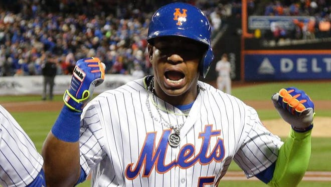 Mets' Yoenis Cespedes after hitting a grand slam against the San Francisco Giants in April.