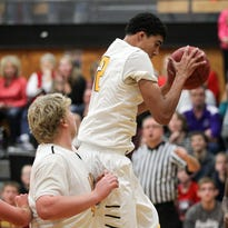 Lone Tree's Niko Gosnell pulls in a rebound during the Lions' game against Highland in Lone Tree on Tuesday, Dec. 15, 2015.
