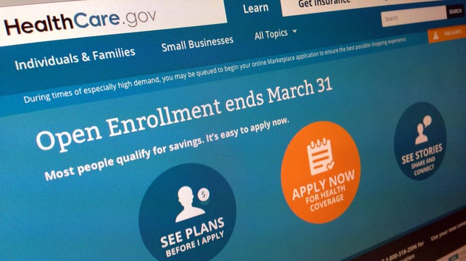 This March 1, 2014, photo shows part of the website for HealthCare.gov