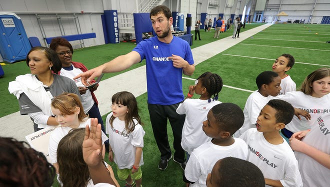 Indianapolis Colts Andrew Luck and Riley Hospital for Children at Indiana Health welcomed over 500 students from around Indiana to their 8-week health, fitness and nutritional program Change the Play Friday morning at the Colts Complex. Here Luck takes part in the activities with the students.