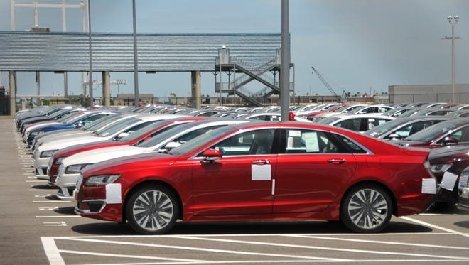 New Lincoln vehicles that were imported from Mexico are parked in a storage lot just east of Cruise Terminal 1 at Port Canaveral earlier this month.