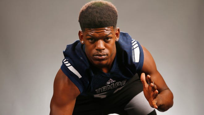 Tempe High School defensive end My-King Johnson. Committed: ARIZONA.