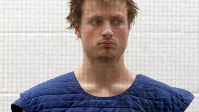James Wesley Howell, 20, of Indiana, appears in Superior Court in Los Angeles Tuesday, June 14, 2016. Howell faces felony weapons charges after authorities say they found assault rifles and explosive chemicals in his car in Santa Monica, Calif., on June 12, before a major Los Angeles gay pride parade. (AP Photo/Nick Ut)