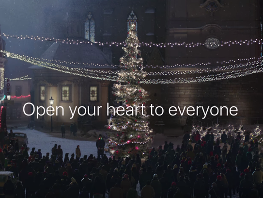 Frame grab from Apple's currently holiday ad