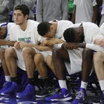 FGCU reacts as they struggle with USC Upstate in the last couple minutes of the A-Sun tournament semi-final on Thursday.