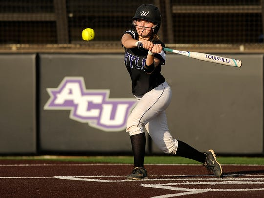 Wylie's Carrie Clark (2) swings at a pitch during the bottom of the third inning of the Lady Bulldogs' 1-0 win over Brownwood in the District 5-4A tiebreaker on Friday, April 21, 2017, at Poly Wells Field.