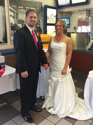 Curt Case and Amanda Bratcher were married at White Castle #7 (105 East Market St., Louisville, KY) in 2015.