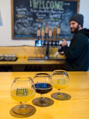 Samples of River Roost Brewery's beers are lined up
