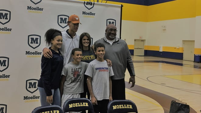 Jaxson Hayes of Moeller committed to Texas for basketball Sept. 29. With Jaxson is father Jonathan, mother Kristi, sister Jillian and brothers Jonah and Jewett.