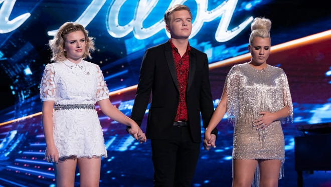 "This season's ""American Idol"" top 3: Maddie Poppe, left, Caleb Lee Hutchinson and Gabby Barrett."