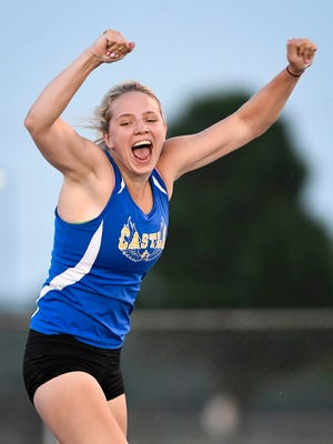"Castle's Maddie Wilson reacts ofter clearing 11' 9"" to win the pole vault at the girls track sectional held at Mount Vernon High School Tuesday, May 16, 2017."