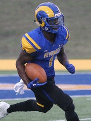 Angelo State University's Fred Lawrence returns a kickoff