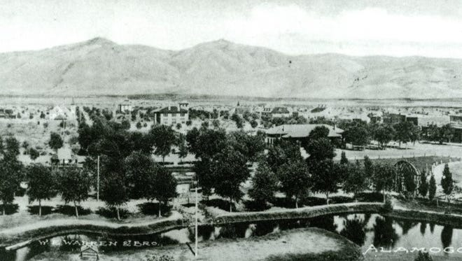 Early Alamogordo, looking out from above Alameda Park towards downtown.