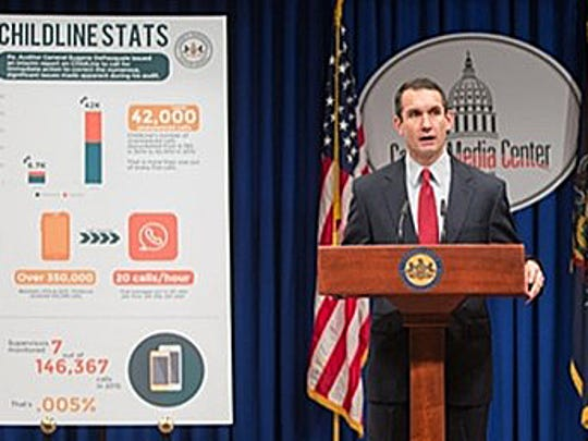 State Auditor General Eugene DePasquale announces the preliminary results of an investigation that found 22 percent of the calls placed to Pennsylvania's child abuse hotline went unanswered in 2015.