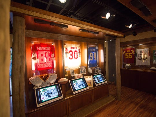 Elements of ancient Polynesian architecture, including lava stones, tropical plants and natural woods such as ohia and koa, were incorporated in the design of the exhibit gallery at the Polynesian Football Hall of Fame in Oahu, Hawaii.