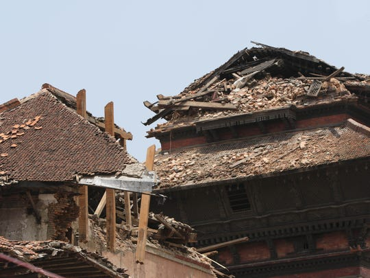 Temples in Durbar Square, a UNESCO World Heritage Site in Kathmandu, have been damaged by a 7.8-magnitude earthquake that hit Nepal two weeks ago.