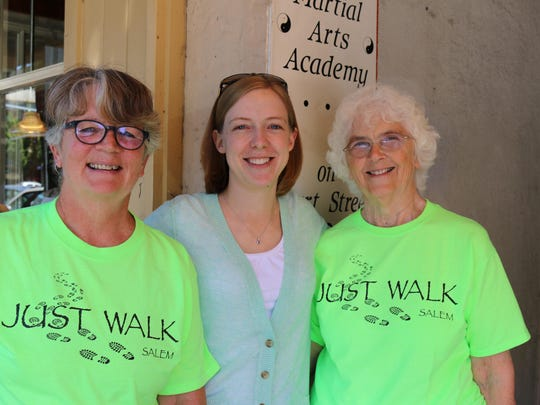 From left, Pat Norman, Skye Hibbard-Swanson and Barbara Gordon of JustWalkSalem.com shared news about the second annual Walk with a Farmer event coming up July 23.