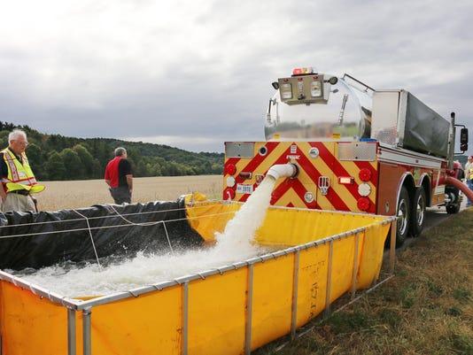 Hallsville firefighter water supply training