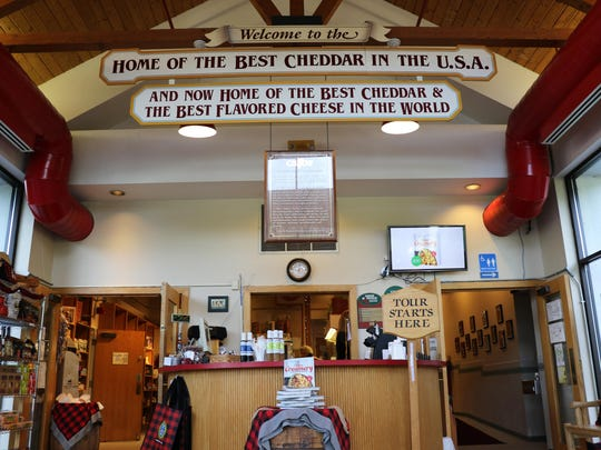 "A view inside the Cabot visitors center with banners proclaiming ""Home of the Best Cheddar in the USA."""