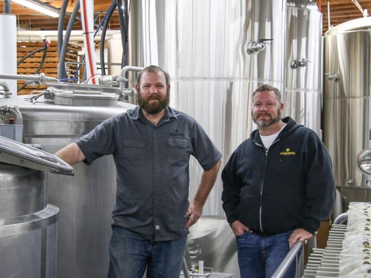 Nick Radtke, left, and Mike Radtke are two of the four owners of Gilgamesh Brewing, Photographed Dec. 3, 2015 in Gilgamesh Brewing's production facility.