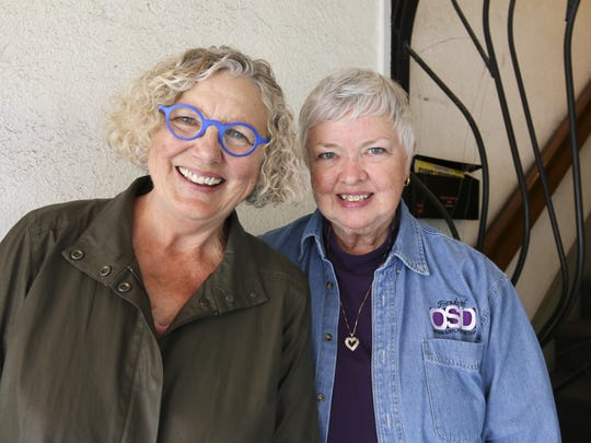 "Judy Lorenzen (left) and Linda Couoh of Friends of the Oregon School for the Deaf, invite the community to a benefit performance of the ""Diary of Anne Frank."""