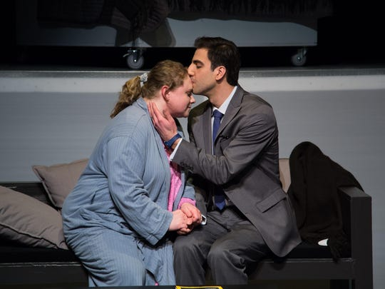 """Emily DePew as Harper Pitt and Alex Taylor as Joe Pitt in a scene from Centerstage Productions' """"Angels in America"""" at the Center for Performing Arts at Rhinebeck."""