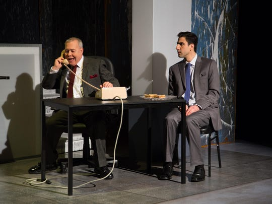 """Lou Trapani as Roy Cohn, left, and Alex Tayler as Joe Pitt in a scene from Centerstage Productions' """"Angels in America"""" at the Center for Performing Arts at Rhinebeck."""