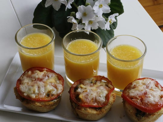 These savory egg, meat and vegetable treats are ideal for a Mothers Day breakfast in bed because they are easy to eat and can be prepped the night before.